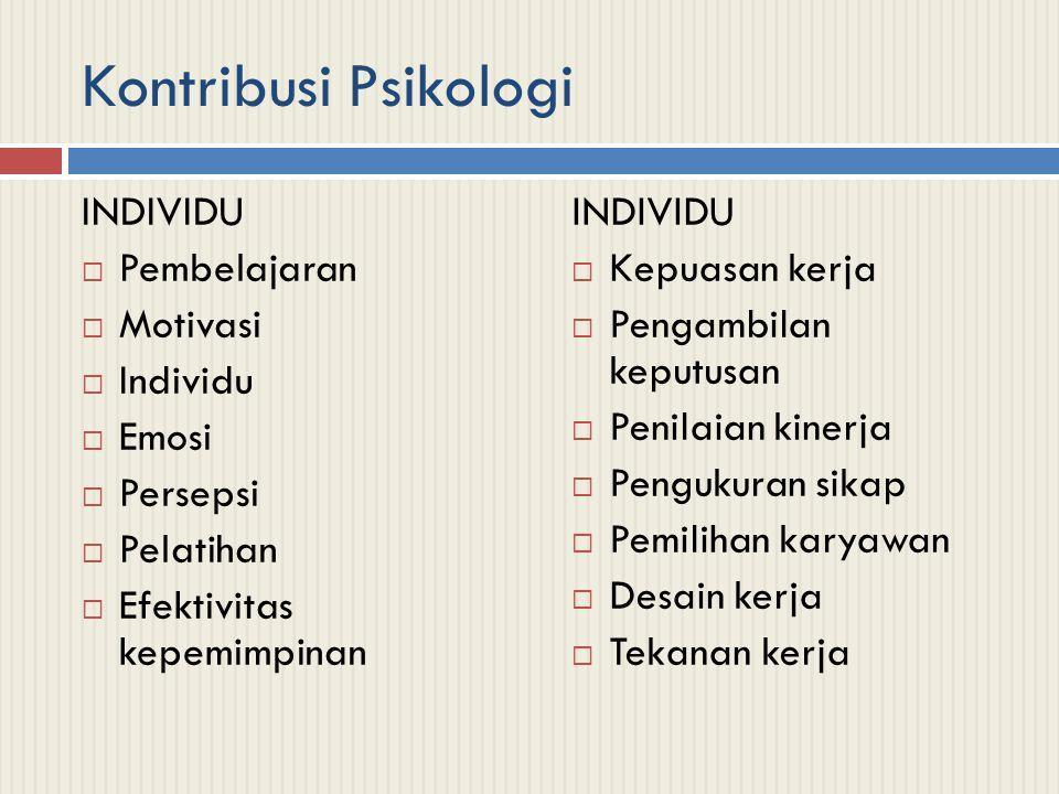 Kontribusi Psikologi INDIVIDU Pembelajaran Motivasi Individu Emosi