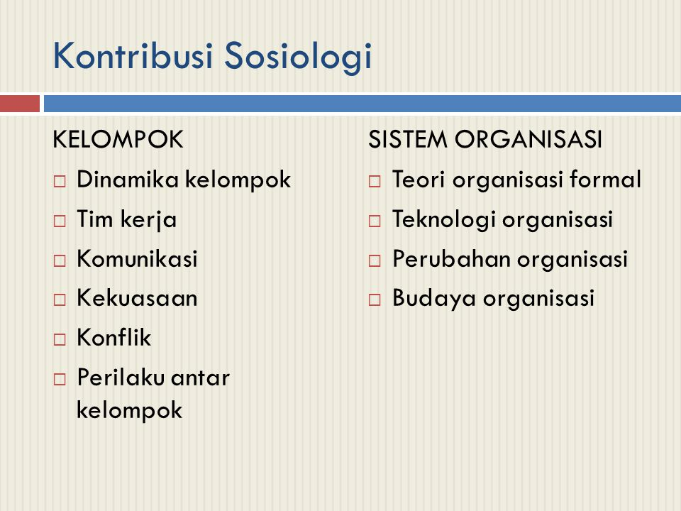 Kontribusi Sosiologi KELOMPOK Dinamika kelompok Tim kerja Komunikasi