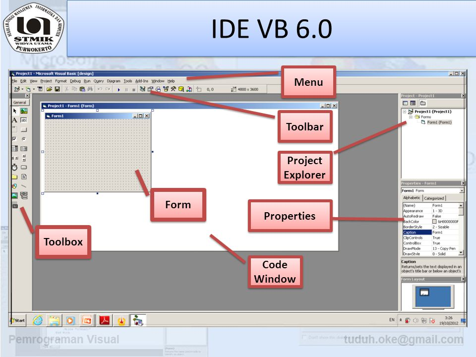 IDE VB 6.0 Menu Toolbar Project Explorer Form Properties Toolbox