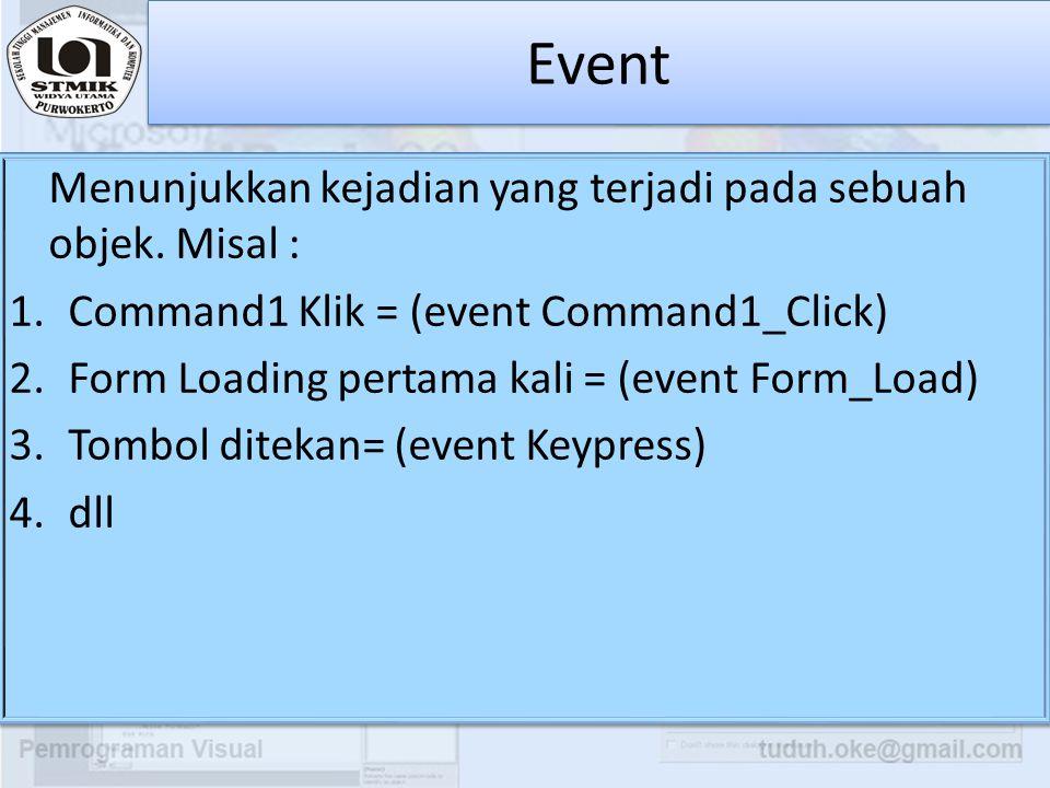 Event Menunjukkan kejadian yang terjadi pada sebuah objek. Misal :