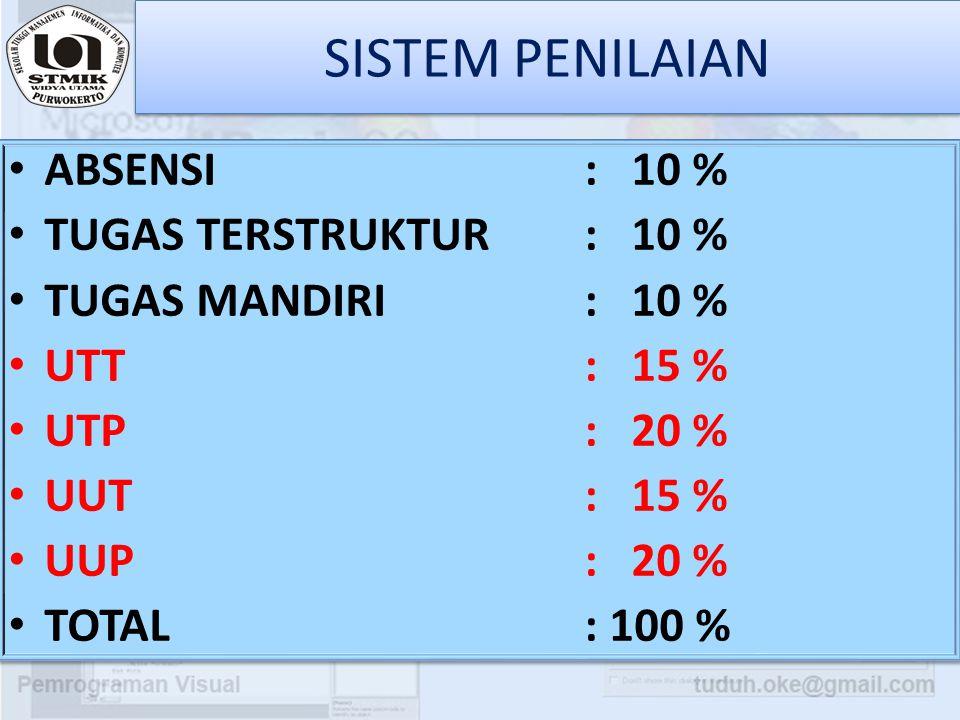 SISTEM PENILAIAN ABSENSI : 10 % TUGAS TERSTRUKTUR : 10 %