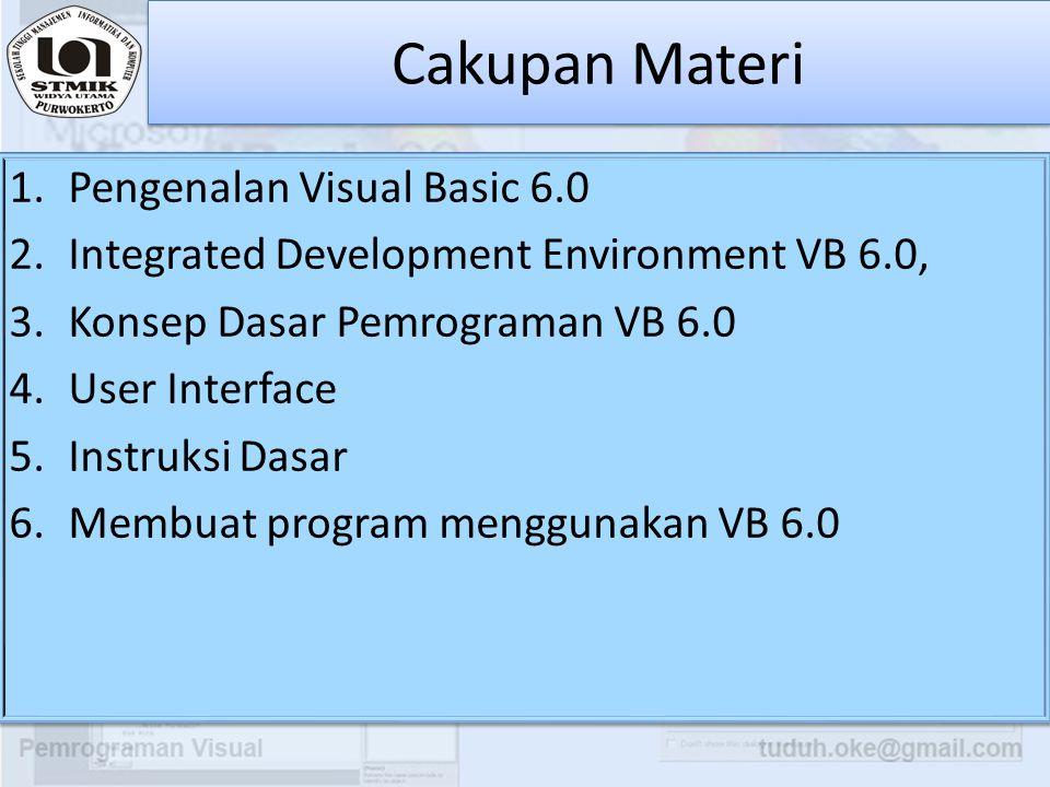 Cakupan Materi Pengenalan Visual Basic 6.0