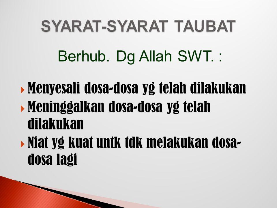 SYARAT-SYARAT TAUBAT Berhub. Dg Allah SWT. :