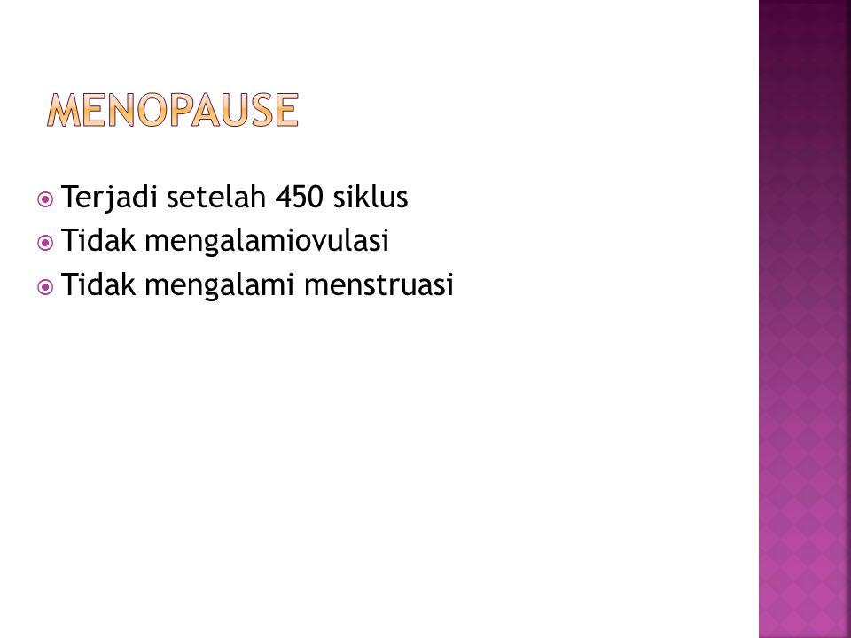Menopause Terjadi setelah 450 siklus Tidak mengalamiovulasi