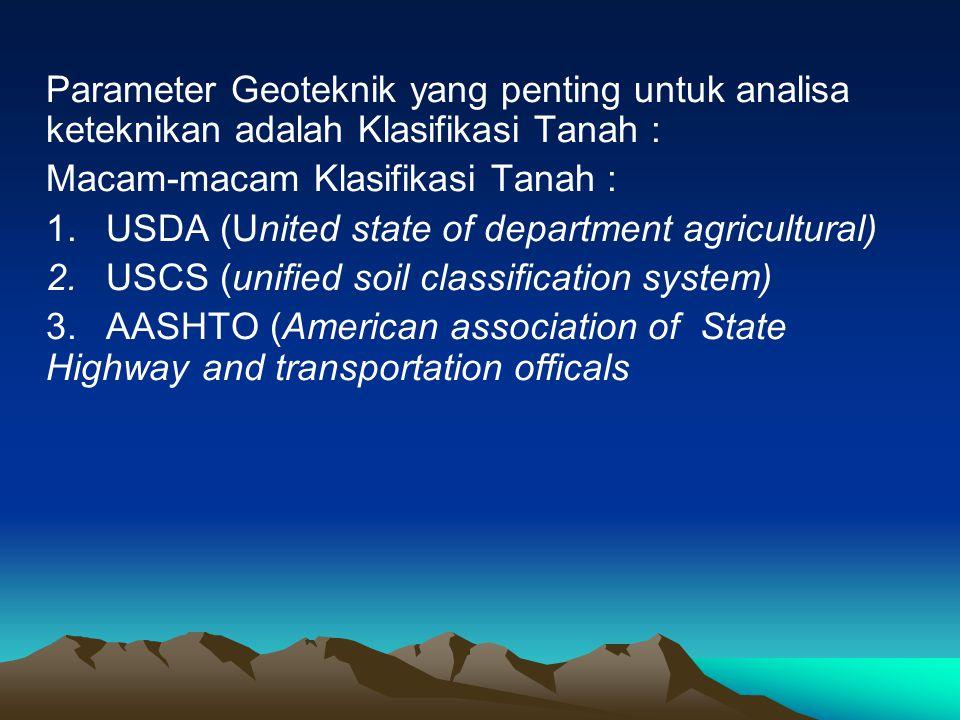 Parameter Geoteknik yang penting untuk analisa keteknikan adalah Klasifikasi Tanah :