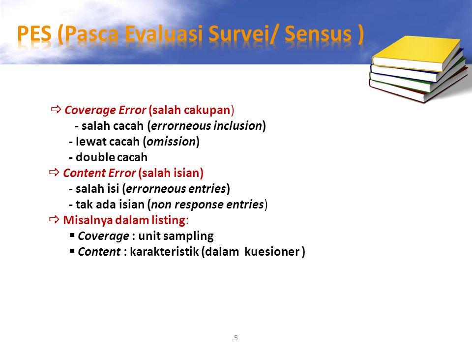 PES (Pasca Evaluasi Survei/ Sensus )