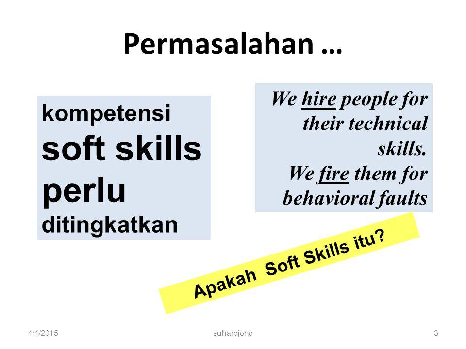 perlu ditingkatkan Permasalahan … kompetensi soft skills