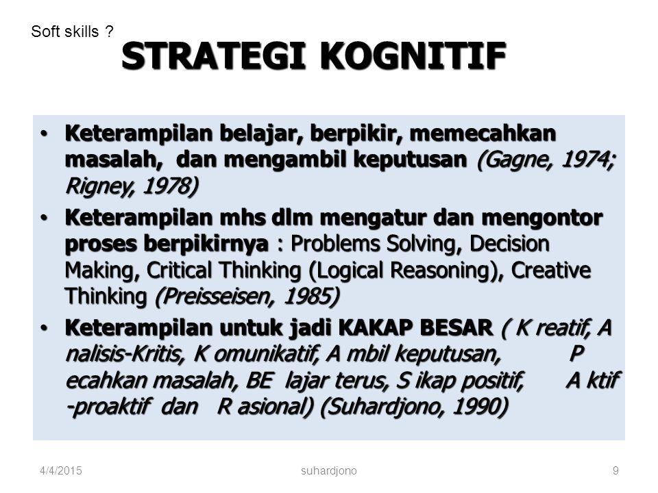 Soft skills STRATEGI KOGNITIF. Keterampilan belajar, berpikir, memecahkan masalah, dan mengambil keputusan (Gagne, 1974; Rigney, 1978)