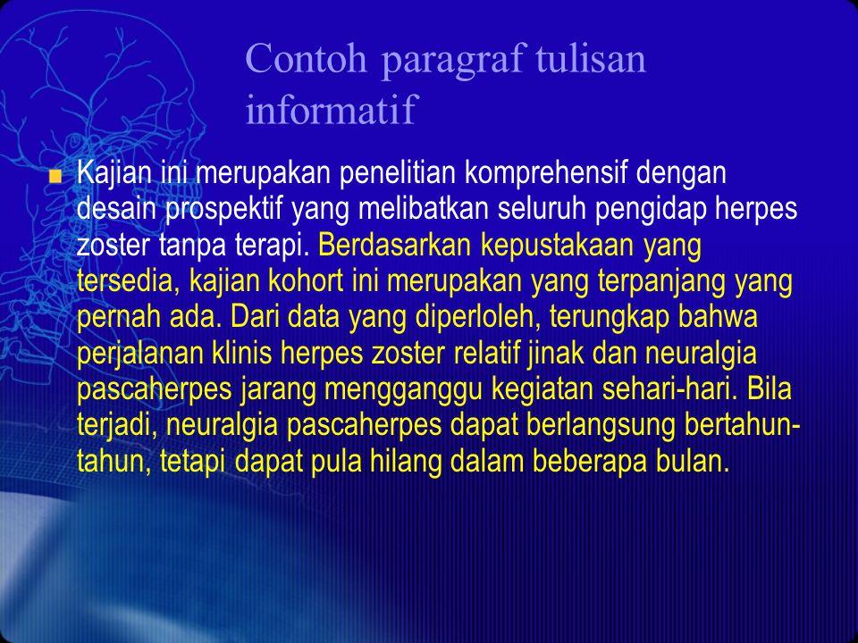 Contoh paragraf tulisan informatif