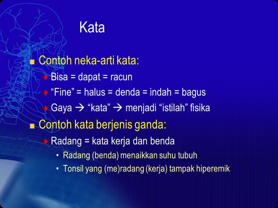 Kata Contoh neka-arti kata: Contoh kata berjenis ganda: