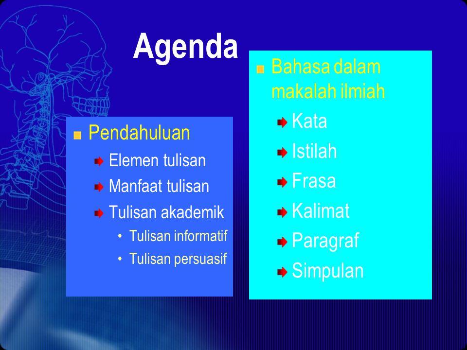 Agenda Bahasa dalam makalah ilmiah Kata Istilah Frasa Pendahuluan