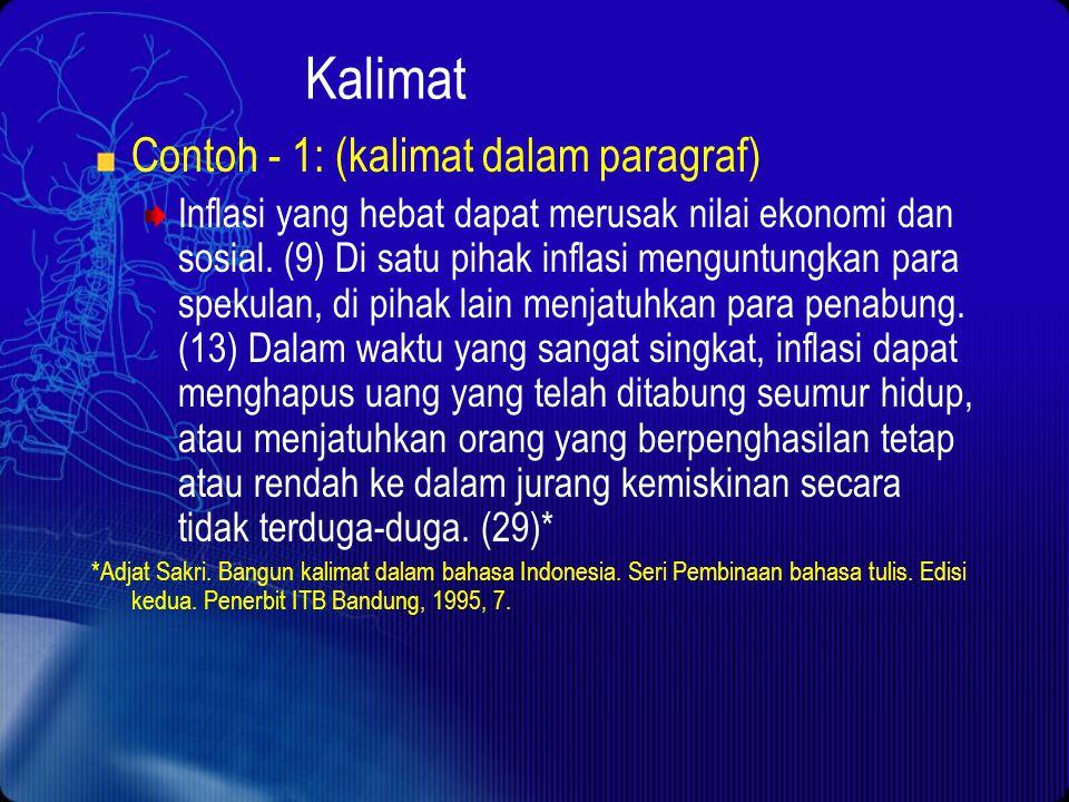 Kalimat Contoh - 1: (kalimat dalam paragraf)