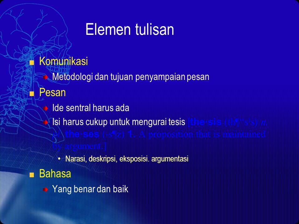 Elemen tulisan Komunikasi Pesan Bahasa