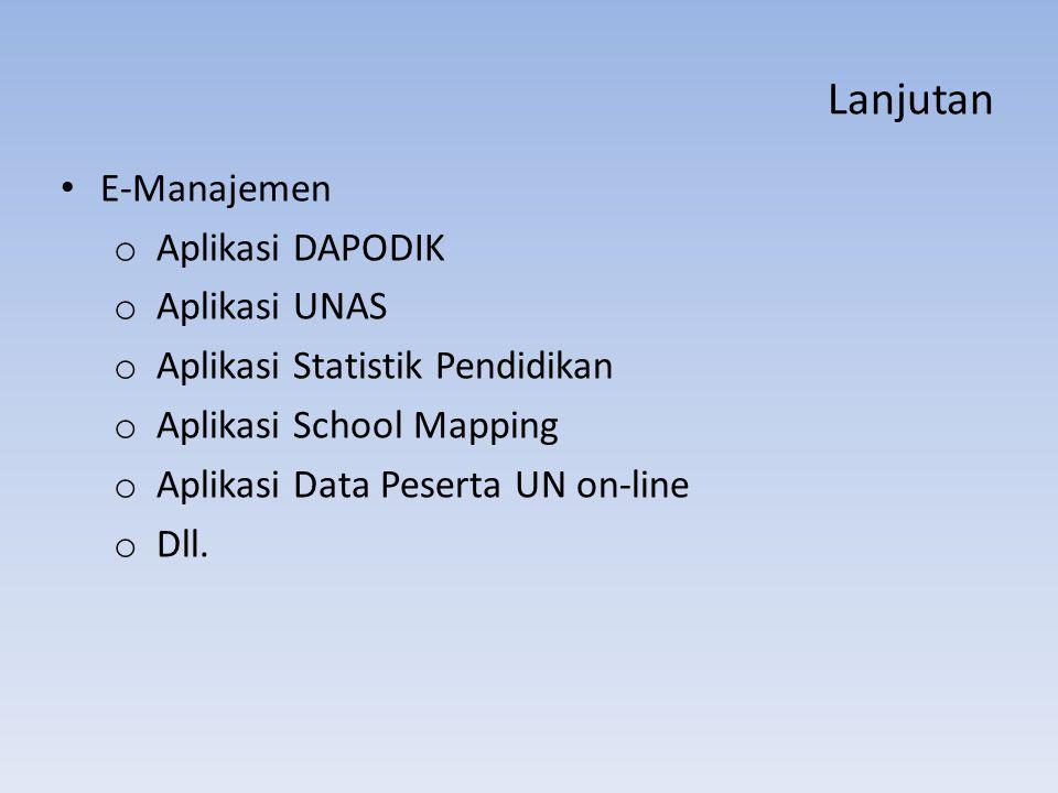Lanjutan E-Manajemen Aplikasi DAPODIK Aplikasi UNAS