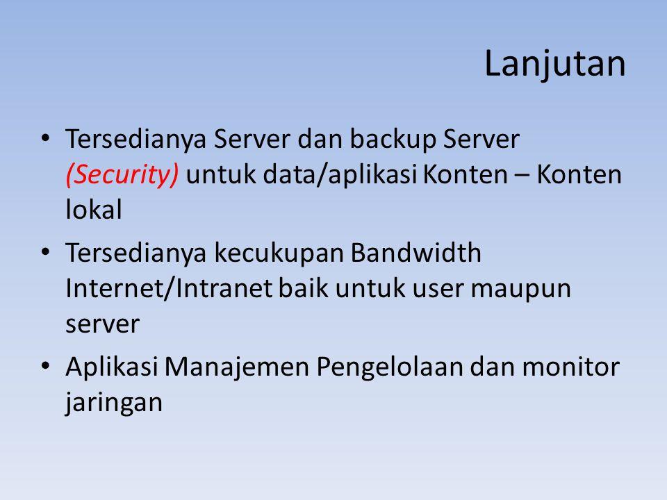 Lanjutan Tersedianya Server dan backup Server (Security) untuk data/aplikasi Konten – Konten lokal.