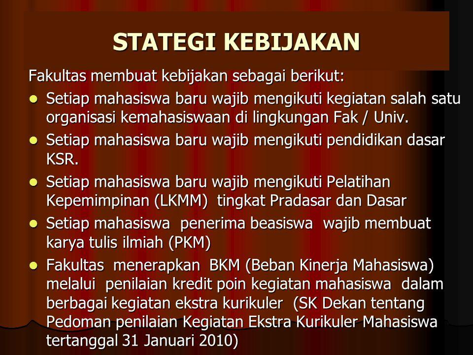 Stategi kebijakan Fakultas membuat kebijakan sebagai berikut: