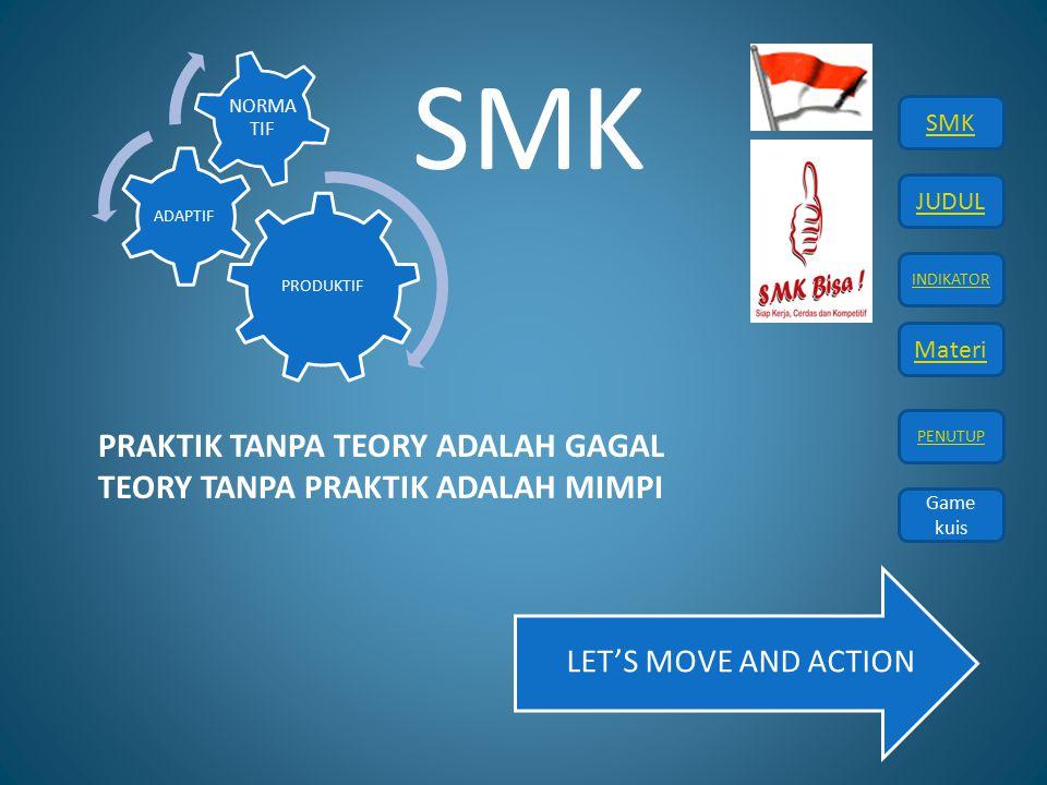 SMK PRAKTIK TANPA TEORY ADALAH GAGAL TEORY TANPA PRAKTIK ADALAH MIMPI