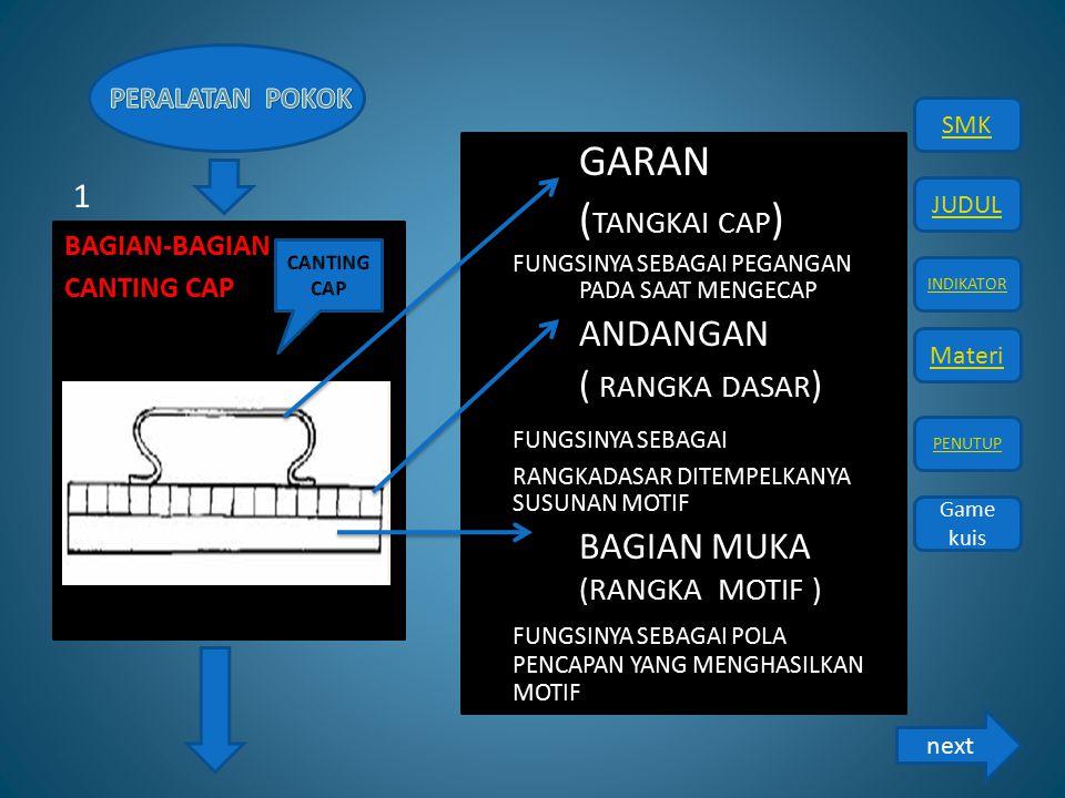 GARAN (TANGKAI CAP) ( RANGKA DASAR) FUNGSINYA SEBAGAI 1