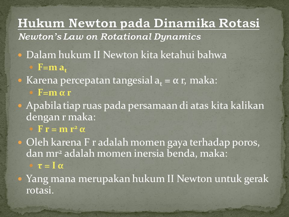 Hukum Newton pada Dinamika Rotasi Newton's Law on Rotational Dynamics