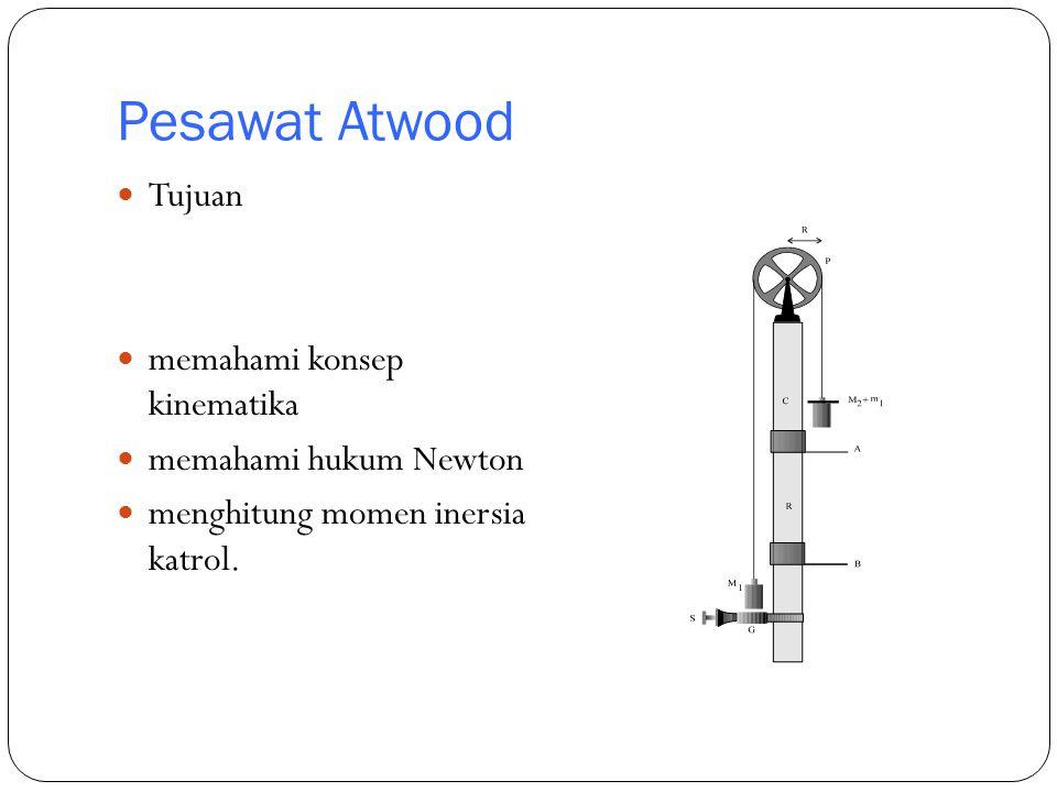 Pesawat Atwood Tujuan memahami konsep kinematika memahami hukum Newton