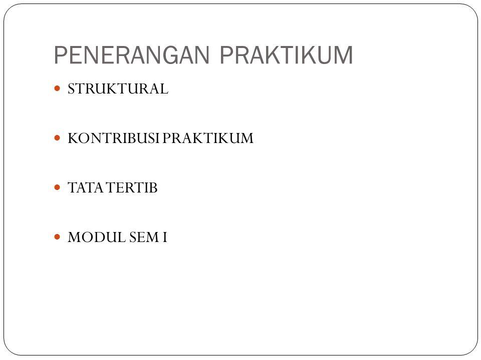 PENERANGAN PRAKTIKUM STRUKTURAL KONTRIBUSI PRAKTIKUM TATA TERTIB