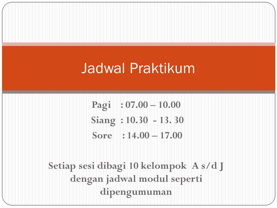 Jadwal Praktikum Pagi : 07.00 – 10.00 Siang : 10.30 - 13. 30