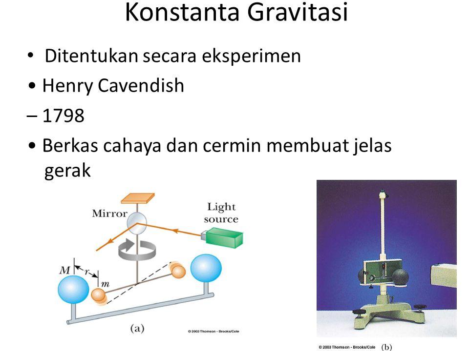Konstanta Gravitasi Ditentukan secara eksperimen • Henry Cavendish