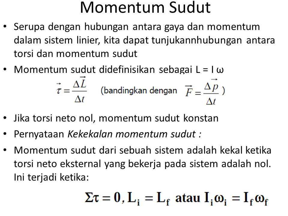 Momentum Sudut Serupa dengan hubungan antara gaya dan momentum dalam sistem linier, kita dapat tunjukannhubungan antara torsi dan momentum sudut.