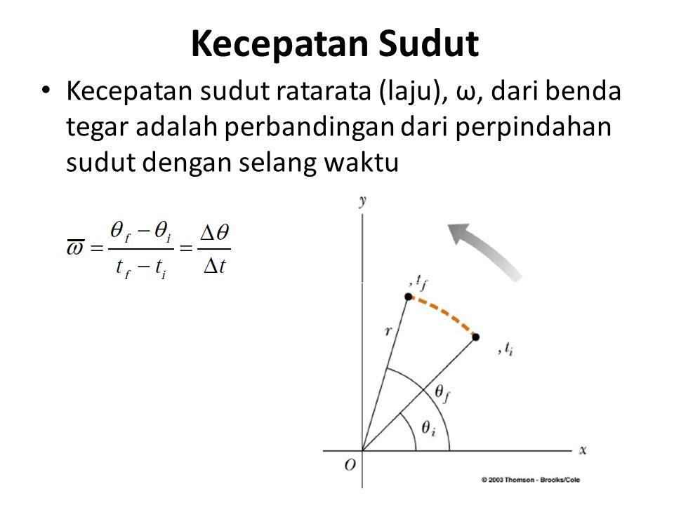 Kecepatan Sudut Kecepatan sudut ratarata (laju), ω, dari benda tegar adalah perbandingan dari perpindahan sudut dengan selang waktu.