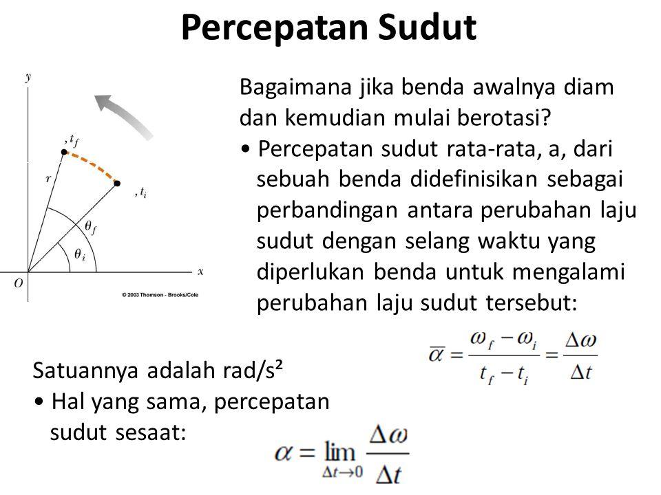 Percepatan Sudut Bagaimana jika benda awalnya diam dan kemudian mulai berotasi • Percepatan sudut rata-rata, a, dari.