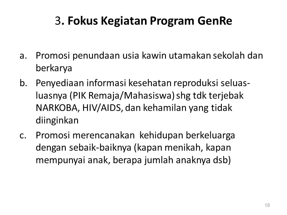 3. Fokus Kegiatan Program GenRe