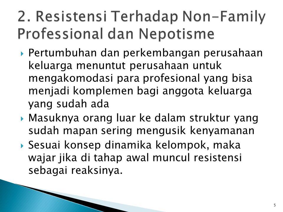 2. Resistensi Terhadap Non-Family Professional dan Nepotisme