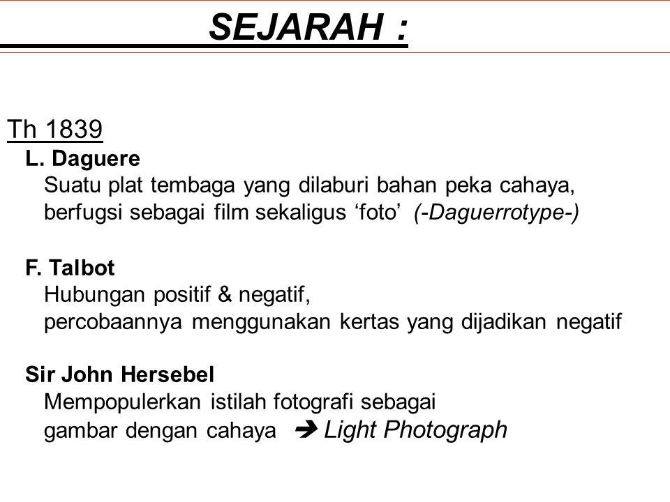 SEJARAH : Th 1839. L. Daguere. Suatu plat tembaga yang dilaburi bahan peka cahaya, berfugsi sebagai film sekaligus 'foto' (-Daguerrotype-)