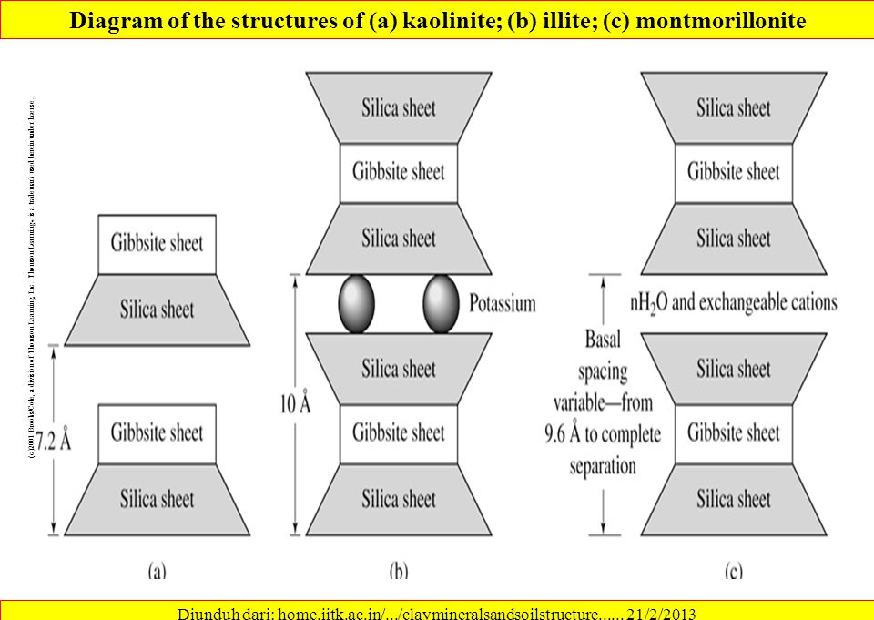 Diagram of the structures of (a) kaolinite; (b) illite; (c) montmorillonite