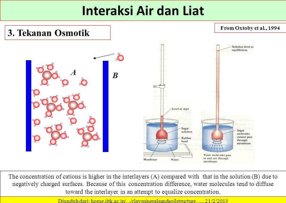 Interaksi Air dan Liat 3. Tekanan Osmotik A B