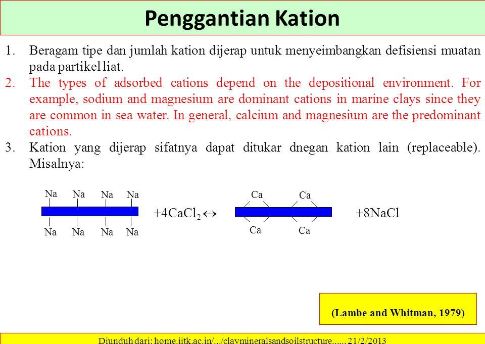 Penggantian Kation Beragam tipe dan jumlah kation dijerap untuk menyeimbangkan defisiensi muatan pada partikel liat.