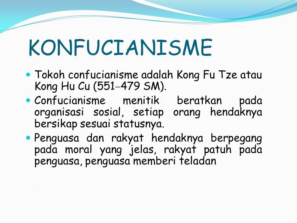 KONFUCIANISME Tokoh confucianisme adalah Kong Fu Tze atau Kong Hu Cu (551–479 SM).