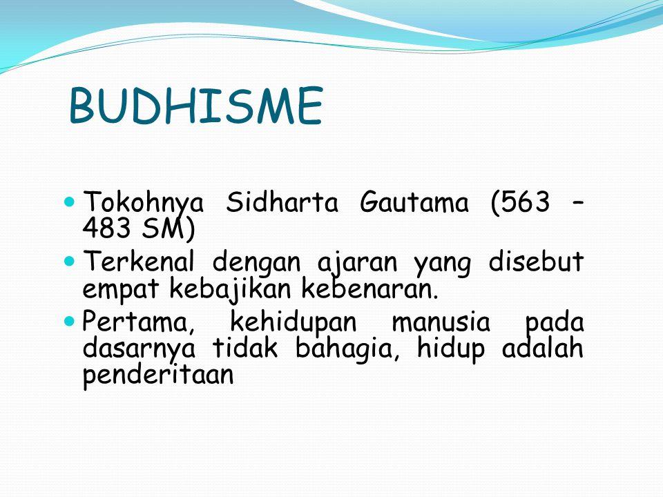 BUDHISME Tokohnya Sidharta Gautama (563 – 483 SM)