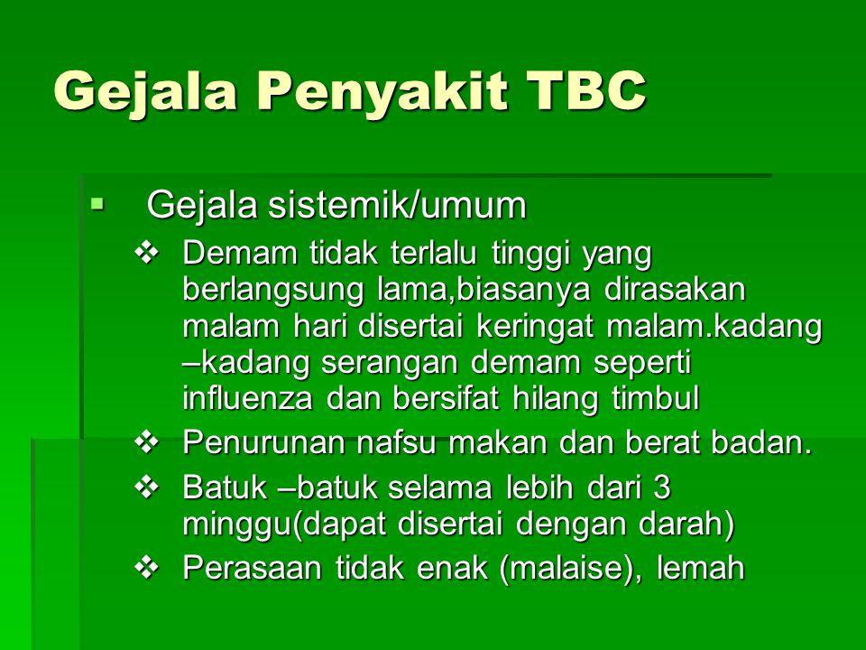 Gejala Penyakit TBC Gejala sistemik/umum