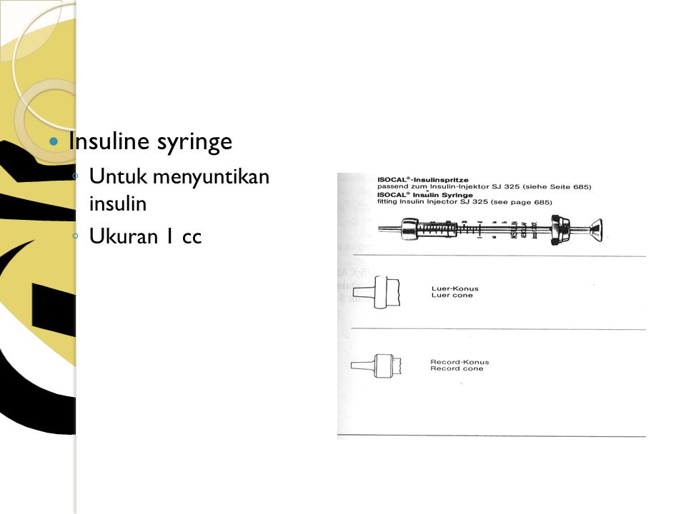 Insuline syringe Untuk menyuntikan insulin Ukuran 1 cc