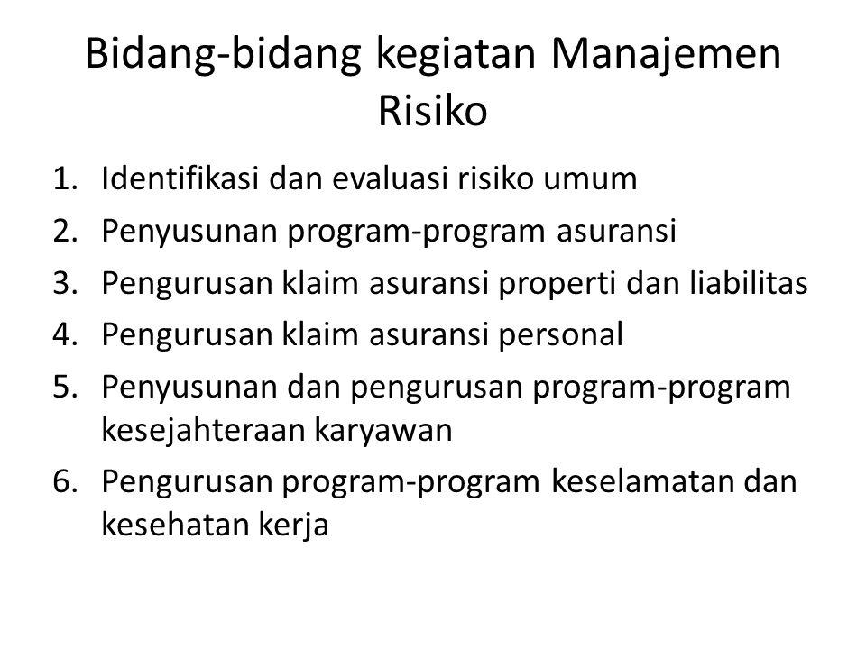 Bidang-bidang kegiatan Manajemen Risiko
