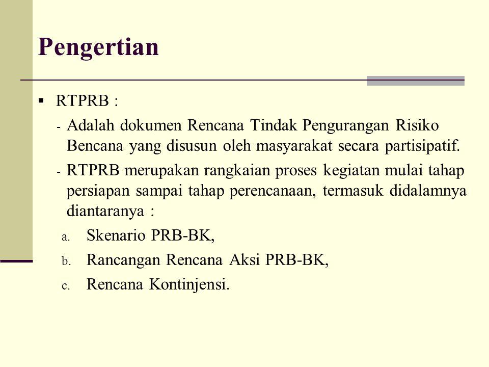 Pengertian RTPRB : Adalah dokumen Rencana Tindak Pengurangan Risiko Bencana yang disusun oleh masyarakat secara partisipatif.