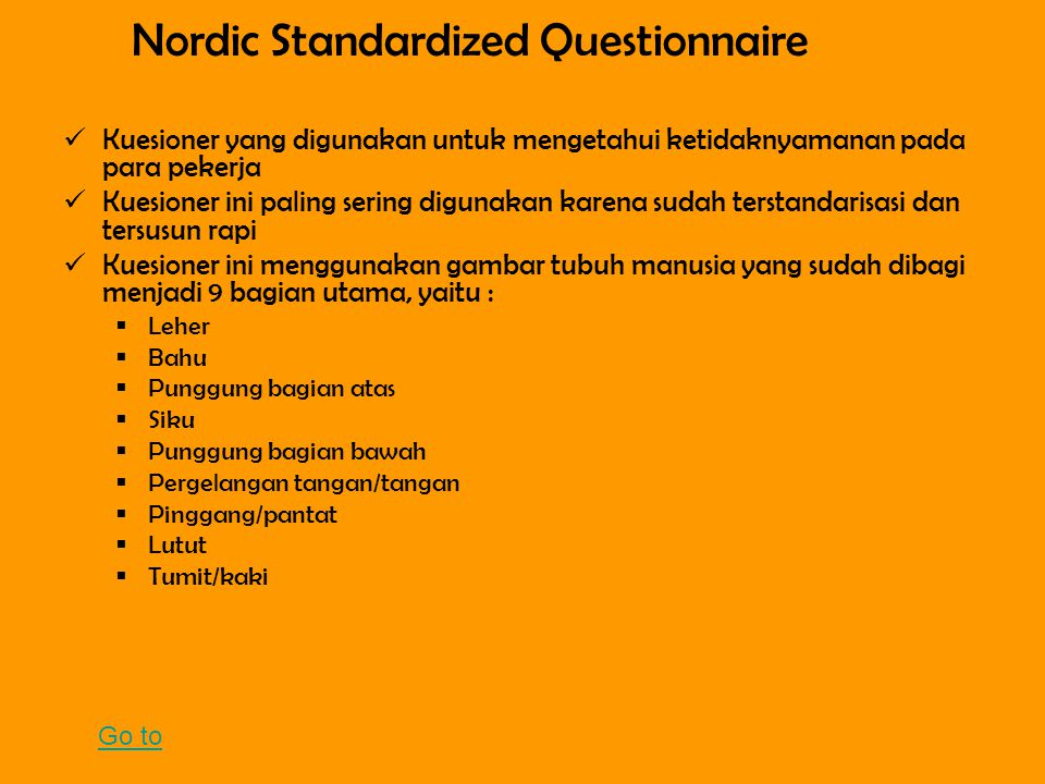 Nordic Standardized Questionnaire