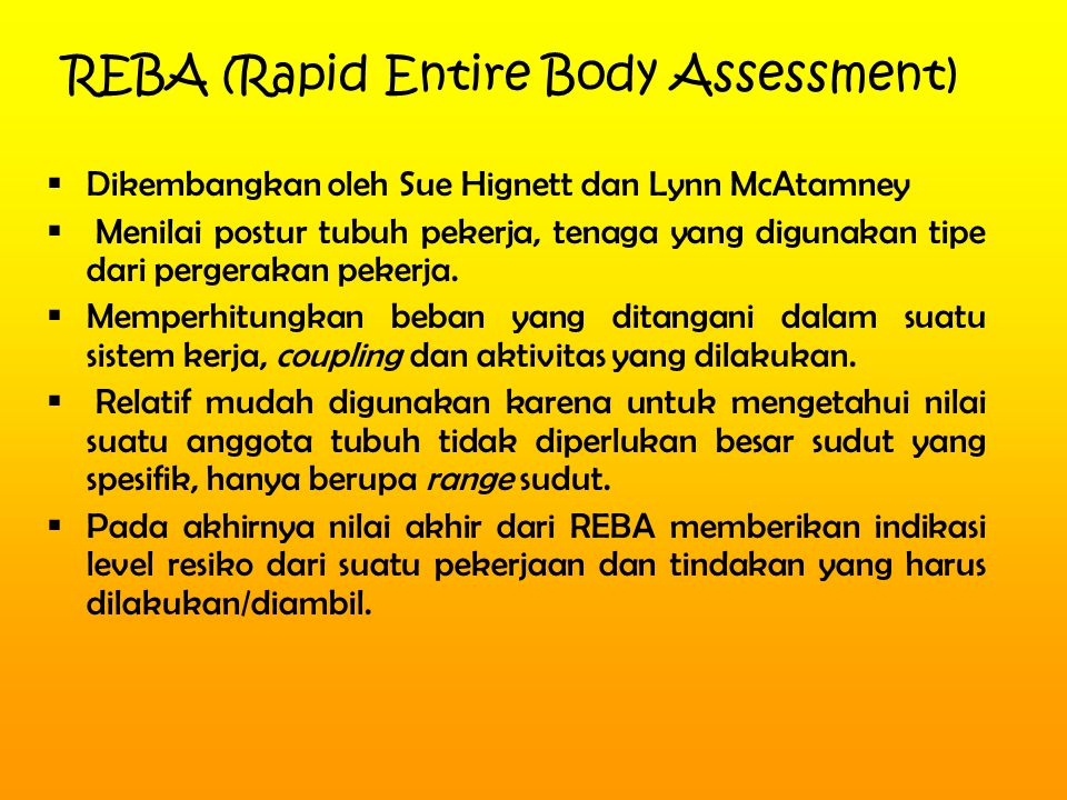 REBA (Rapid Entire Body Assessment)
