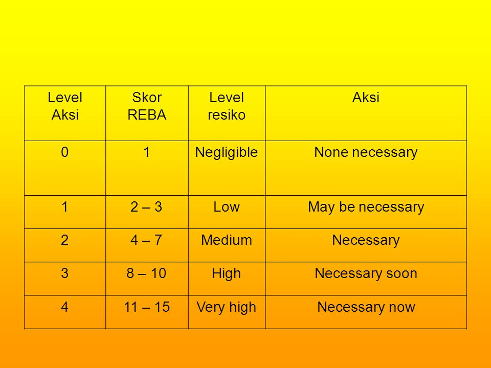 Level Aksi. Skor. REBA. resiko. 1. Negligible. None necessary. 2 – 3. Low. May be necessary.