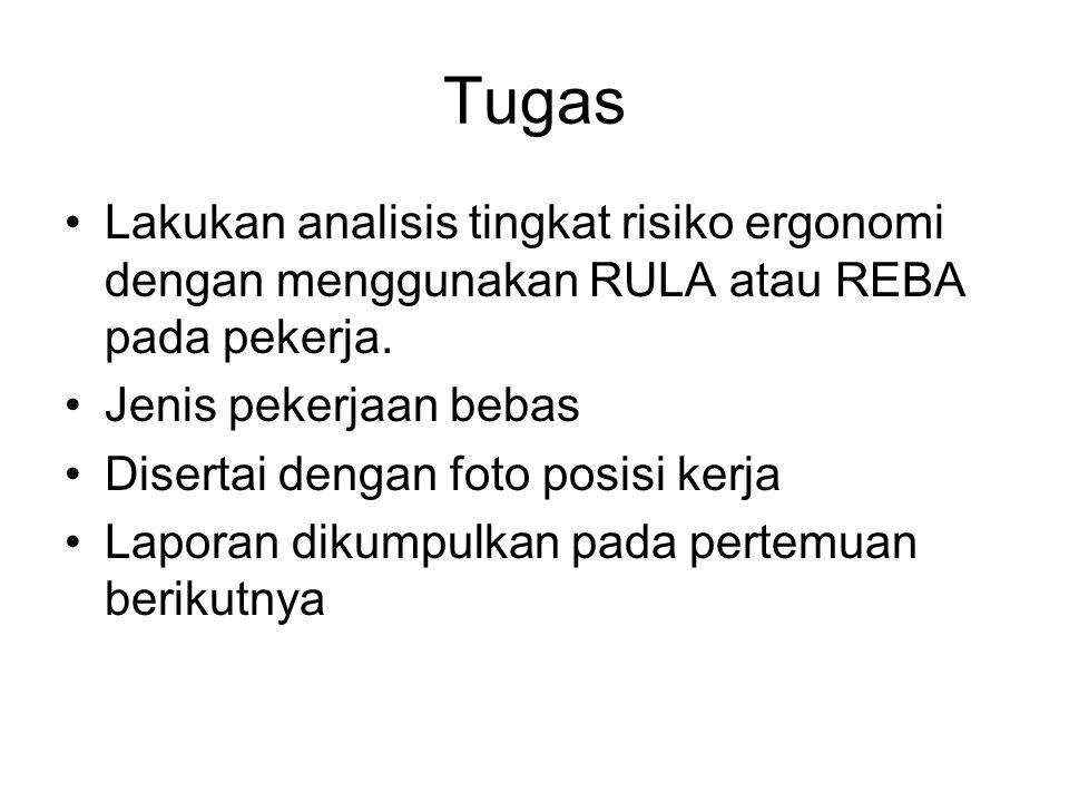 Tugas Lakukan analisis tingkat risiko ergonomi dengan menggunakan RULA atau REBA pada pekerja. Jenis pekerjaan bebas.
