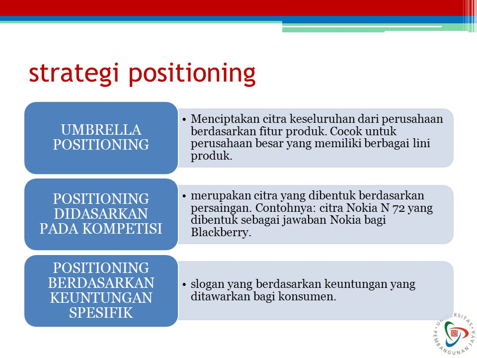 strategi positioning UMBRELLA POSITIONING
