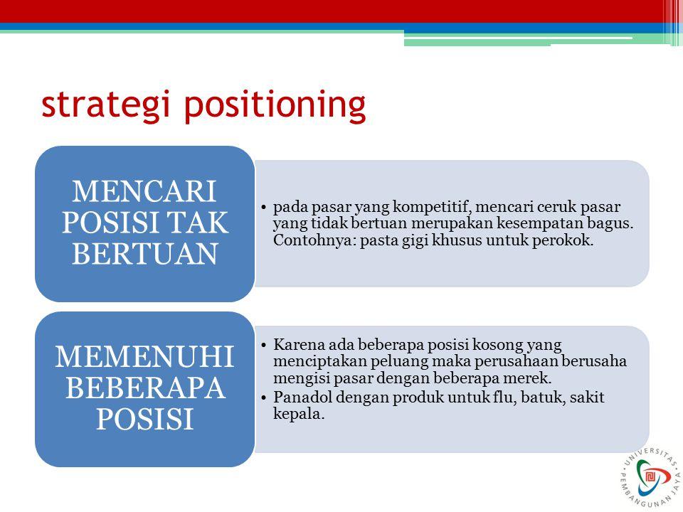 strategi positioning MENCARI POSISI TAK BERTUAN
