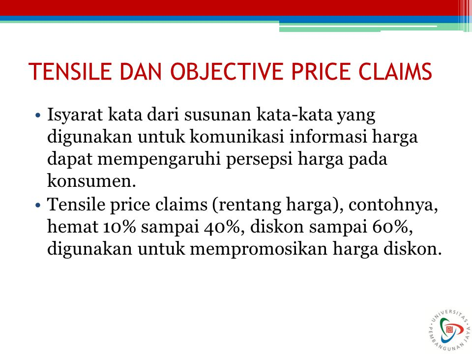 TENSILE DAN OBJECTIVE PRICE CLAIMS