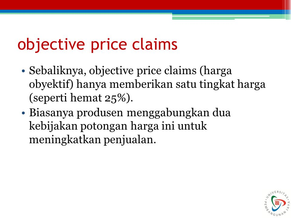 objective price claims